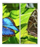 Blue Morpho Butterfly Diptych Fleece Blanket