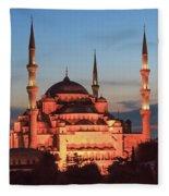 Blue Mosque At Dusk Fleece Blanket