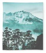 Blue Mountain Winter Landscape Fleece Blanket
