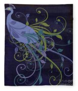 Blue Peacock Art Nouveau Fleece Blanket