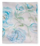 Blue Peonies Fleece Blanket