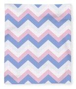 Blue Pink Chevron Pattern Fleece Blanket