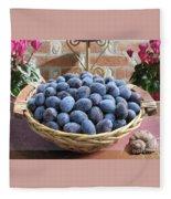 Blue Plums In A Basket Fleece Blanket