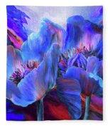 Blue Poppies On Red Fleece Blanket