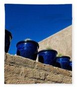 Blue Pottery On Wall Fleece Blanket
