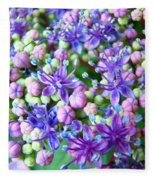 Blue Purple Hydrangea Flower Macro Art Fleece Blanket