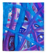 Blue Purple Paths  Fleece Blanket