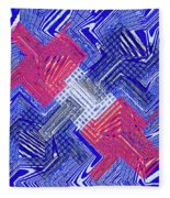 Blue Red And White Janca Abstract Panel Fleece Blanket
