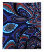 Blue Red Folds Fleece Blanket