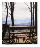 Blue Ridge Mountain Porch View Fleece Blanket