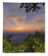 Blue Ridge Mountain Sunset Fleece Blanket