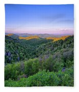 Blue Ridge Parkway Summer Appalachian Mountains Sunset Fleece Blanket by Alex Grichenko