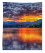 Blue Ridges Lake Junaluska Sunset Great Smoky Mountains Art Fleece Blanket