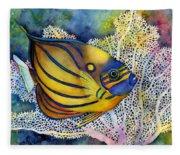 Blue Ring Angelfish Fleece Blanket