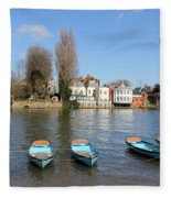 Blue Rowing Boats On The Thames At Hampton Court London Fleece Blanket