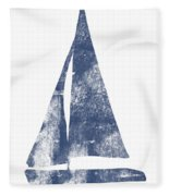 Blue Sail Boat- Art By Linda Woods Fleece Blanket