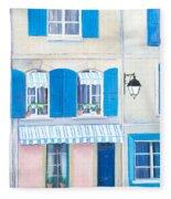 Blue Shutters Arles France Fleece Blanket