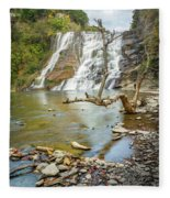 Blue Skies Over Ithaca Falls Fleece Blanket