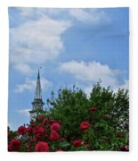 Blue Sky And Roses Fleece Blanket