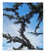 Blue Sky Art Prints White Clouds Conifer Pine Branches Baslee Troutman Fleece Blanket