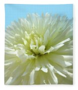 Blue Sky Art White Dahlia Flower Floral Prints Baslee Troutman Fleece Blanket