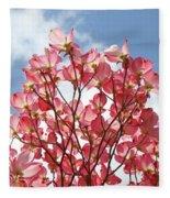 Blue Sky Clouds Landscape 7 Pink Dogwood Tree Baslee Troutman Fleece Blanket
