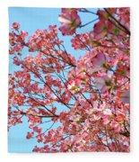 Blue Sky Floral Art Print Pink Dogwood Tree Flowers Baslee Troutman Fleece Blanket