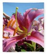 Blue Sky Floral Landscape Pink Lilies Art Prints Canvas Baslee Troutman Fleece Blanket