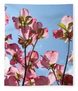 Blue Sky Landscape White Clouds Art Prints Pink Dogwood Flowers Baslee Troutman Fleece Blanket