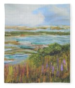 Blue Sky Over Fort Hill Fleece Blanket