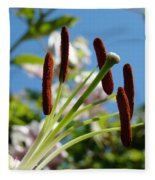 Blue Sky Sunny Floral Pink Lily Flower Baslee Troutman Fleece Blanket