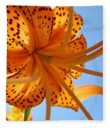 Blue Sky Sunshine Tiger Lily Flowers Giclee Prints Baslee Troutman Fleece Blanket