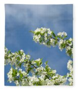 Blue Sky White Clouds Landscape Art White Tree Blossoms Spring Fleece Blanket