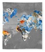 Blue Street Art World Map Fleece Blanket