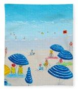 Blue Striped Umbrellas Fleece Blanket