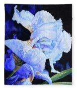 Blue Summer Iris Fleece Blanket