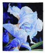 Blue Summer Iris Fleece Blanket