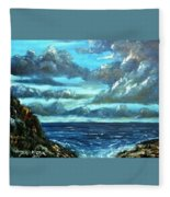 Blue Sunset Oil Beach Painting Fleece Blanket