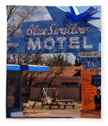 Blue Swallow Motel On Route 66 Fleece Blanket