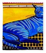 Blue Tabby - Cat Art By Dora Hathazi Mendes Fleece Blanket