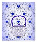 Blue Teapot - Kitchen Fleece Blanket