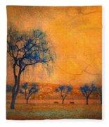 Blue Trees And Dreams Fleece Blanket