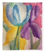 Blue Tulip And Iris Abstract Fleece Blanket