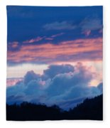 Blue Twilight Clouds Art Prints Mountain Pink Sunset Baslee Troutman Fleece Blanket