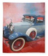 Blue Vintage Car Fleece Blanket