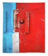 Blue Wall Red Door Fleece Blanket