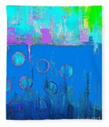 Blue Water And Sky Abstract Fleece Blanket