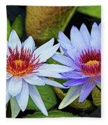 Blue Water Lilies Fleece Blanket