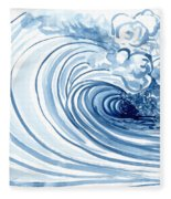 Blue Wave Modern Loose Curling Wave Fleece Blanket