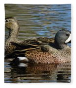 Blue Winged Teal Pair Fleece Blanket